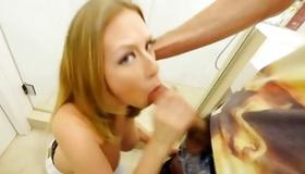 Blonde whore sexually blowing the cock