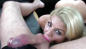 Mouthwatering slut sucks on the heavy penis
