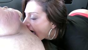 Grey haired dude sucks on her pussy lips