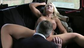 Sexy blonde slut gets her mouth charged with cock