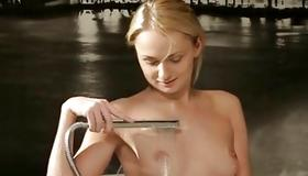 Bitchy babe is fingering under the water
